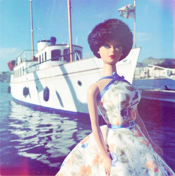 Vintage Barbie blue floral dress from Dinahs Dolls