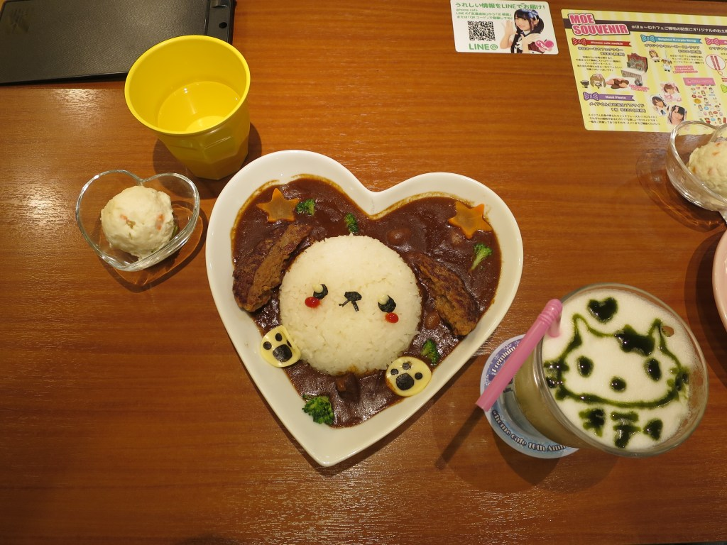 First meal in Japan: I spy a dog and Hello Kitty!
