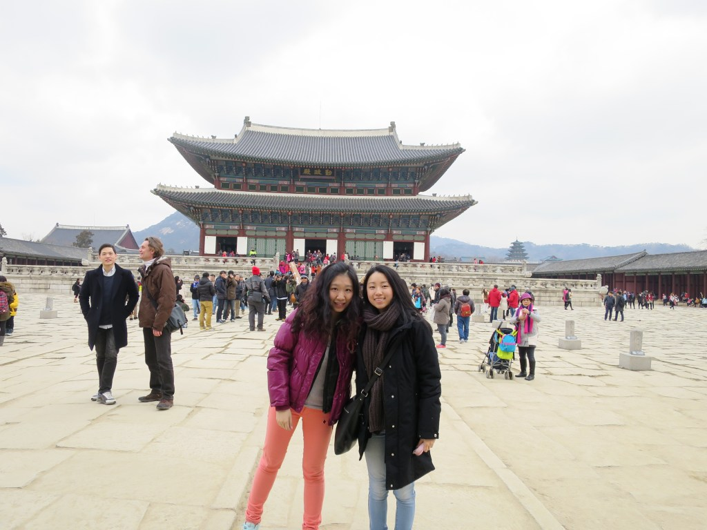 A very slanted and touristy photo at the Gyeongbokgung Palace