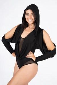 Black Split Sleeve Hooded Kylie Bodysuit Hood Up