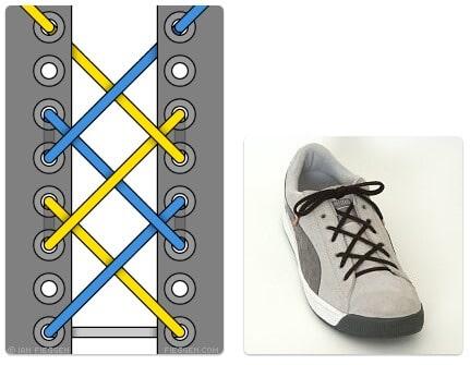 cara mengikat tali sepatu keren unik mudah dan gaul Hash Lacing