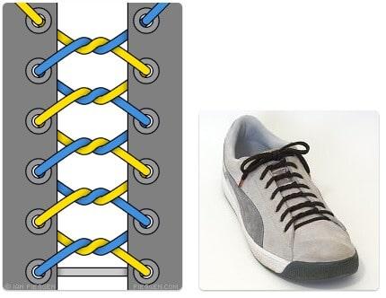 cara mengikat tali sepatu keren unik mudah dan gaul Knotted Lacing