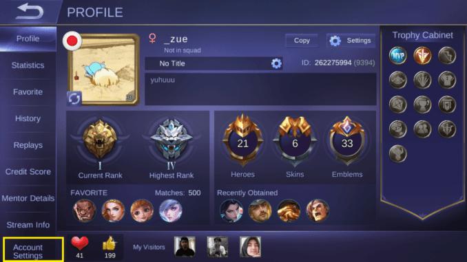 cara menghapus akun mobile legend profile level max cewek cantik bendera jepang