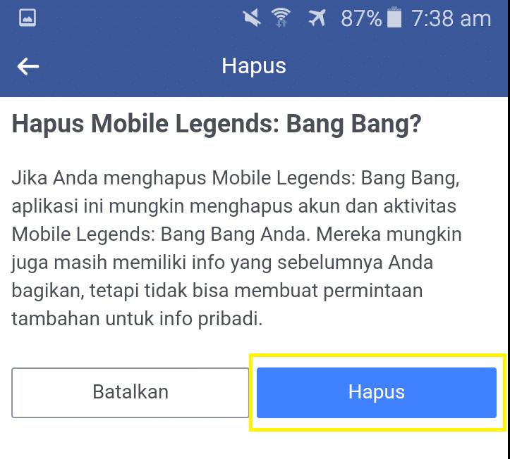 pengaturan akun facebook informasi aplikasi dan web diakses menggunakan facebook hapus mobile legend bang bang