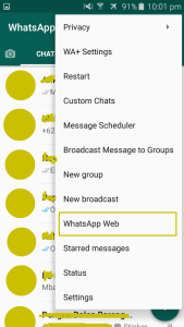 tampilan aplikasi whatsapp plus menu