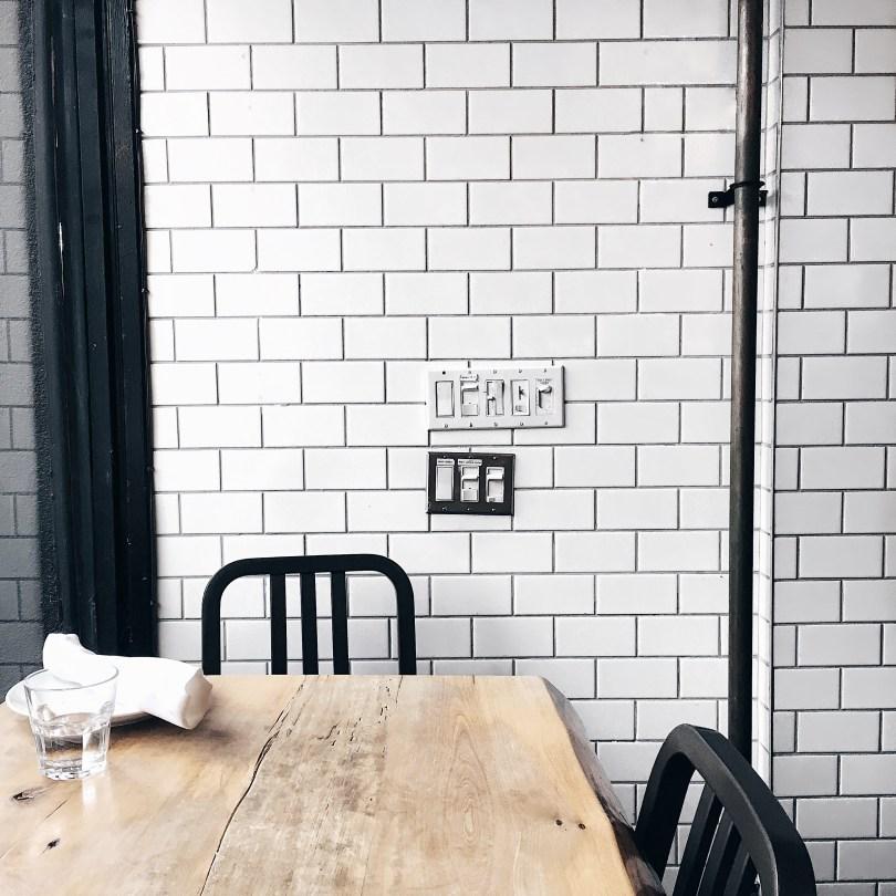 Cute, white subway tile at Lambretta Pizzeria