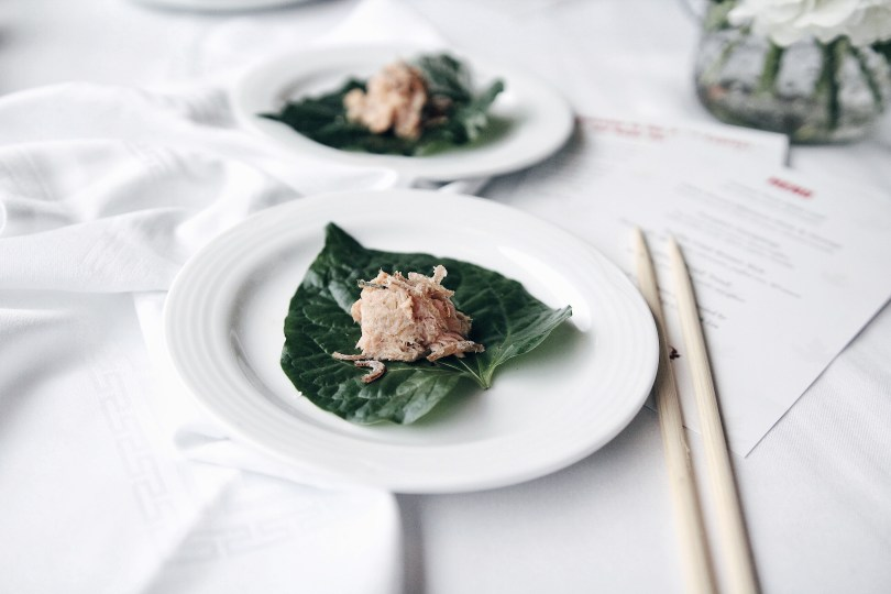 Smoked trout on a Betel leaf