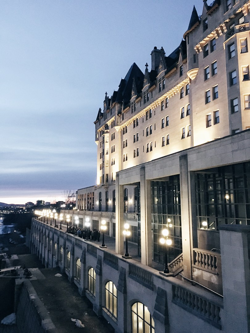 Nighttime view of the Fairmont Chateau Laurier