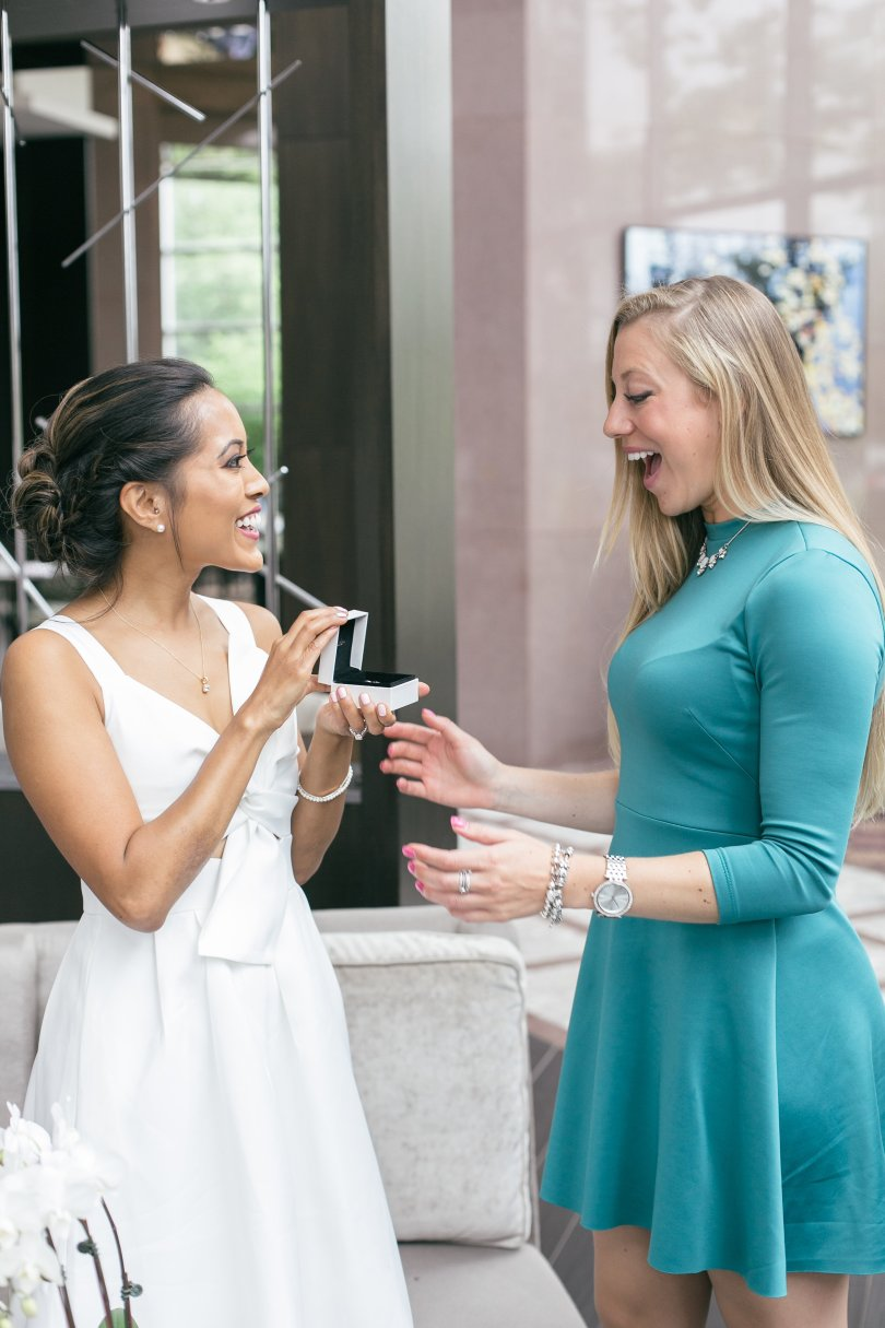 Caught my bridesmaid, Gabi, by surprise with Pandora earrings