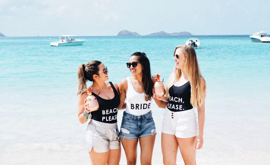 Bride and Bridesmaid swimsuits at Nikki Beach