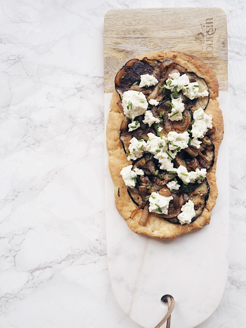 Italian flatbread made with grilled eggplant, caramelized onions, Boursin cheese and chives