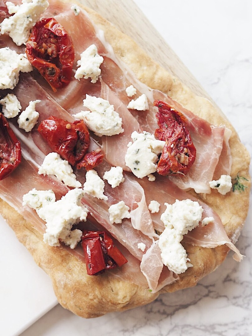 Crumble Boursin cheese on top of your flatbread for a yummy finish