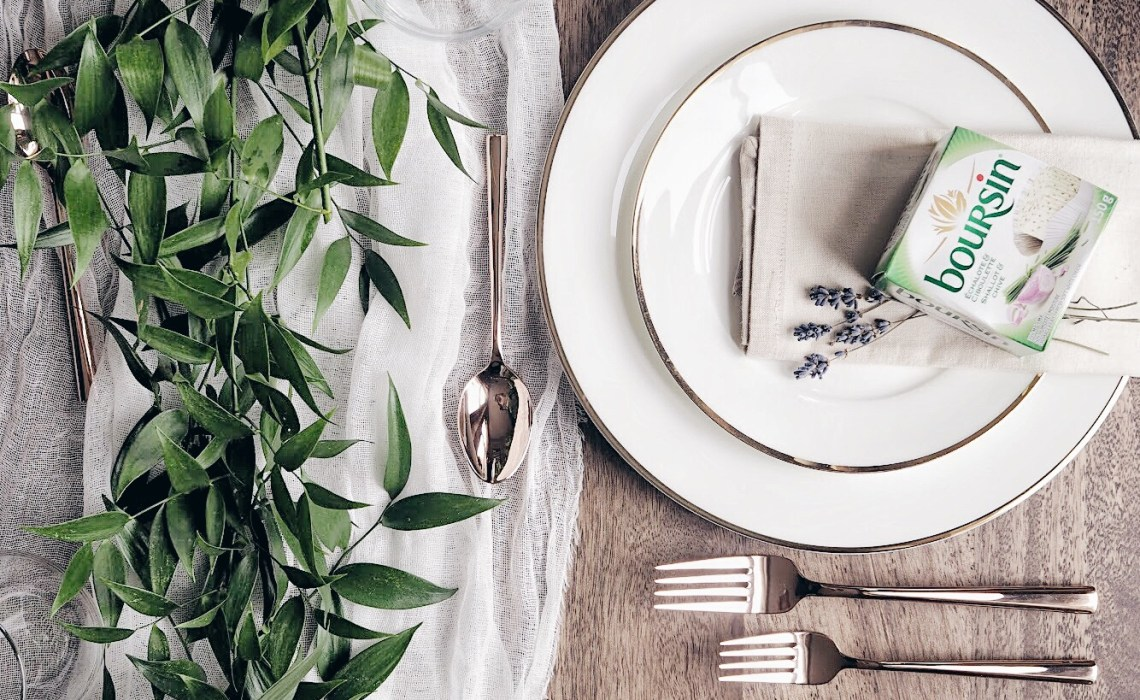 Add a box of Boursin on top of the plate for a beautiful table setting