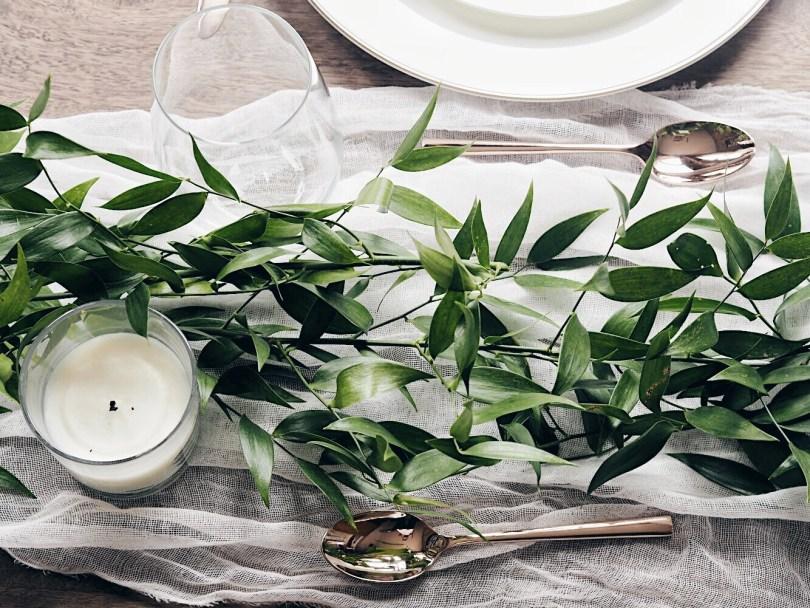 Italian ruscus on a table setting