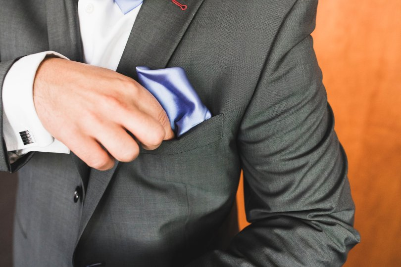 Pocket squares in periwinkle