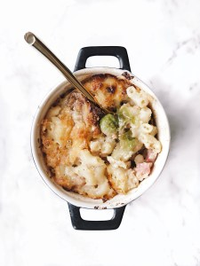 Mac and cheese with Brussels sprouts and pancetta served in mini cocottes