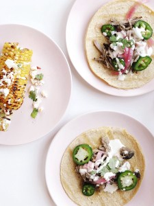 Pork carnitas with Mexican street corn