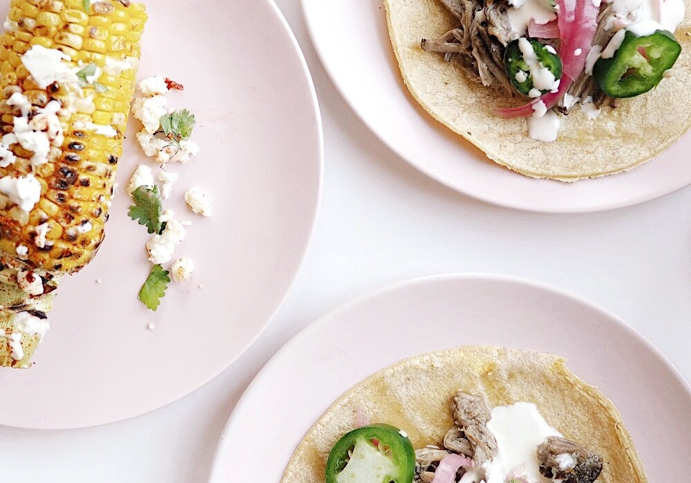 Pork carnitas with Mexican street corn