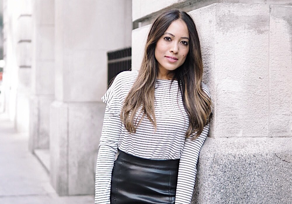 Wearing striped shirt, black leather skirt and Chelsea boots