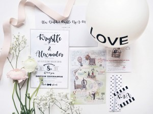 custom wedding invitations by Paper Damsels