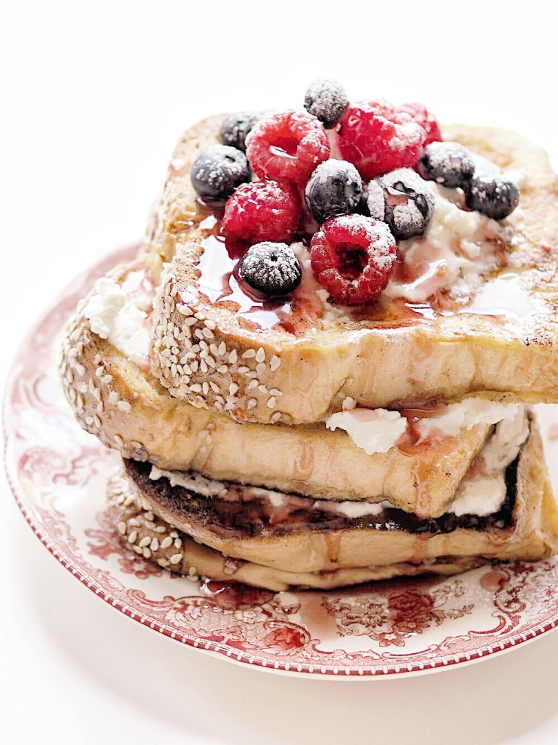 Stack of challah french toast