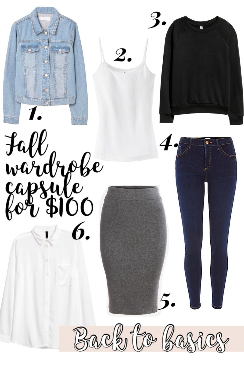 Collage of my fall wardrobe capsule for $100