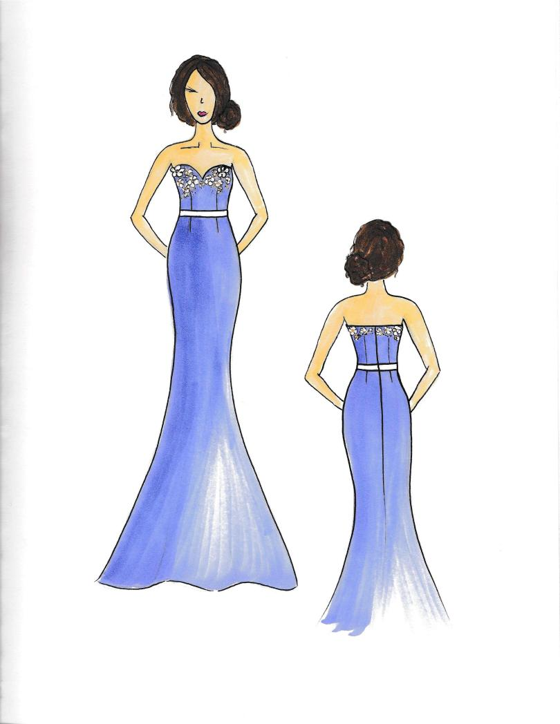 custom sketch of bridesmaid dresses