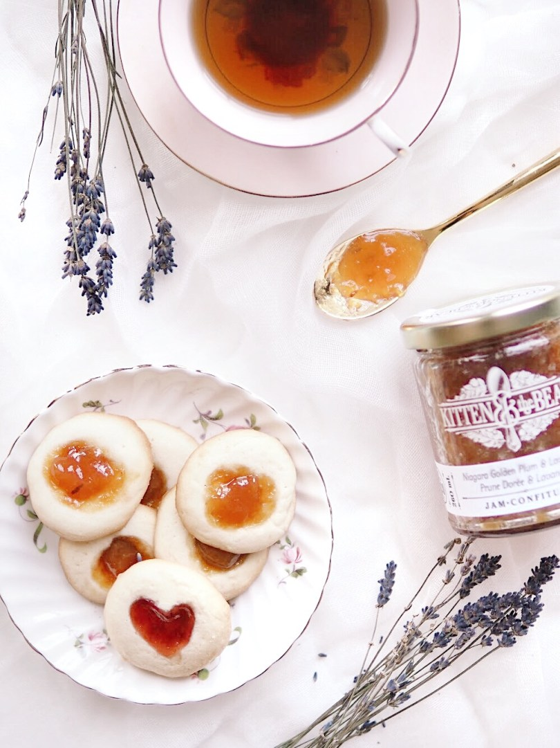 Thumbprint cookies with Niagara Golden Plum & Lavender jam from Kitten and the Bear