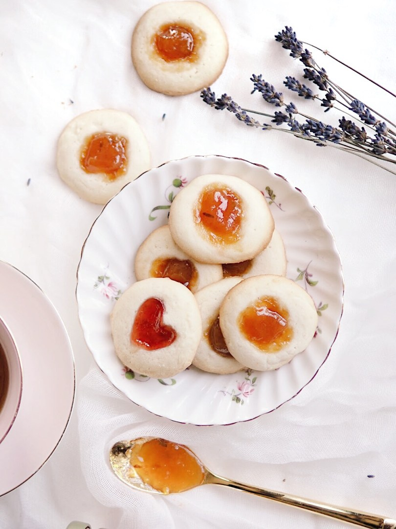 Thumbprint cookies with golden plum and lavender jam