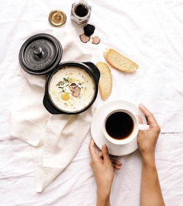 Food flatlay with hands in frame