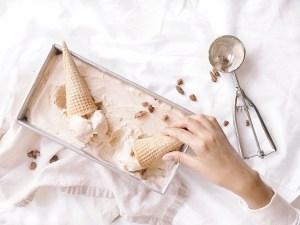 Grabbing ice cream cone