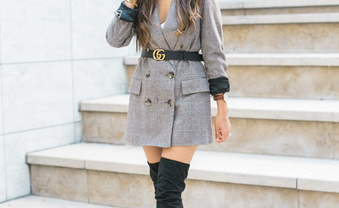 how to style a plaid blazer in a feminine way