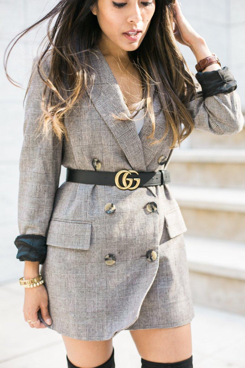 styling a plaid blazer in a feminine way