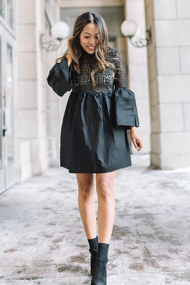 Black poplin and tonal lace dress from Shopbop
