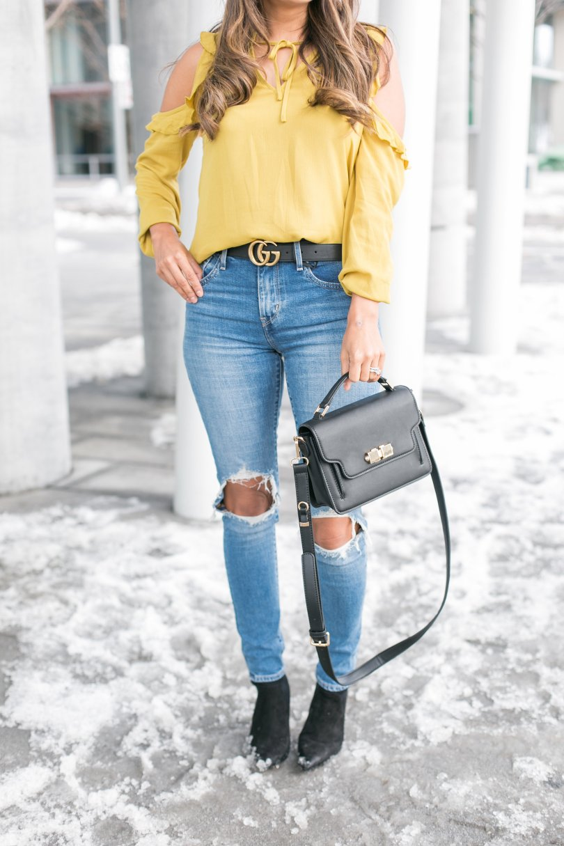 Mustard top and levi's from shopbop
