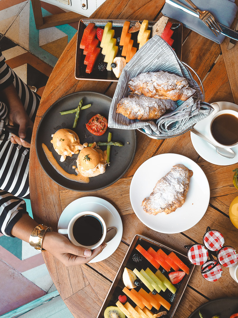 Top down shot of Four Seasons breakfast at Zanaya