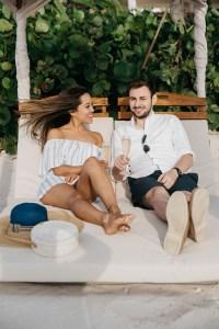 Sitting with Alex on beach chair