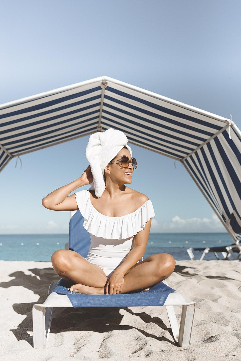 Towel on my head on the beach