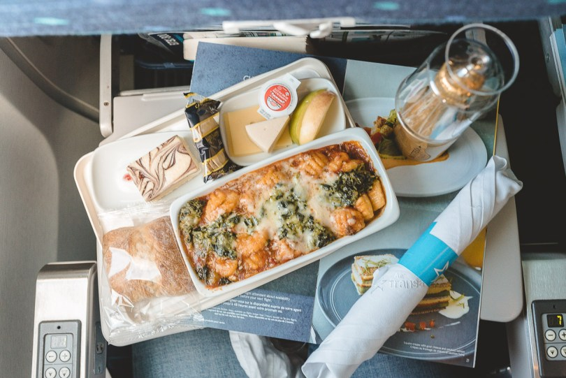 Warm in-flight meal from Chef Daniel Vezina aboard Air Transat flight from Montego Bay, Jamaica