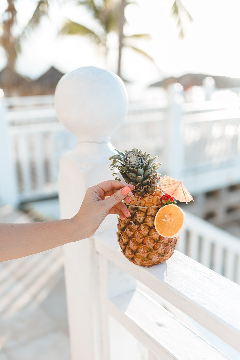 Pineapple welcome drink at Royal Decameron Cornwall Beach