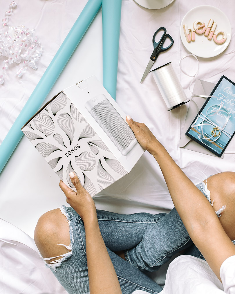 Gift wrapping a Sonos One for Father's Day