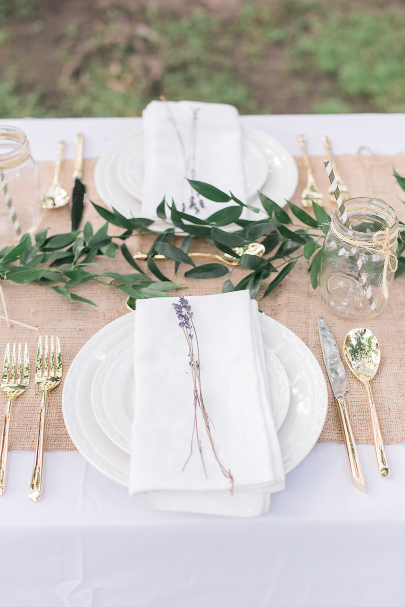 Table setting with greenery