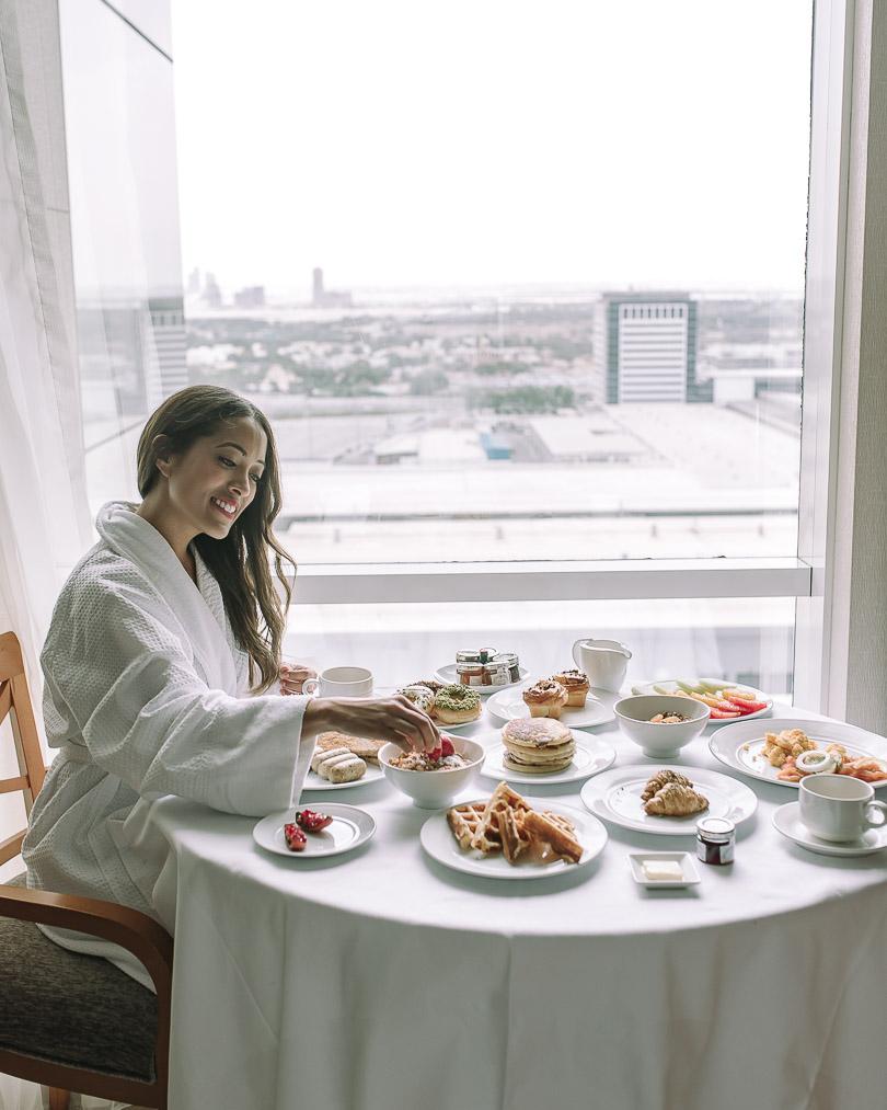 Having breakfast in our suite at Fairmont Dubai