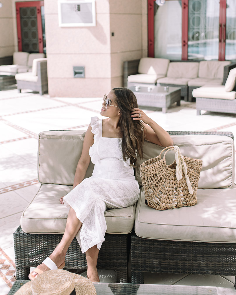 Lounging on rooftop deck at Fairmont Dubai