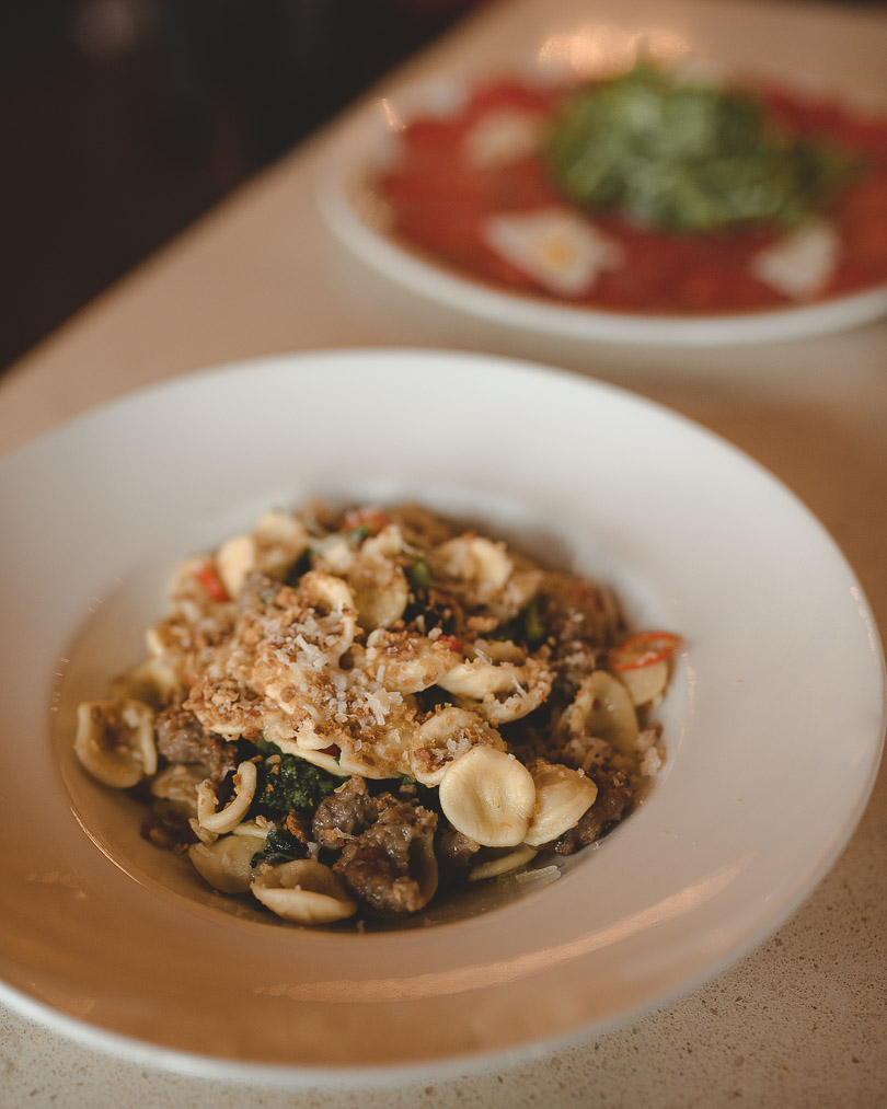 Orecchiette with sausage and rapini at Kitchen76 at Two Sisters Vineyards