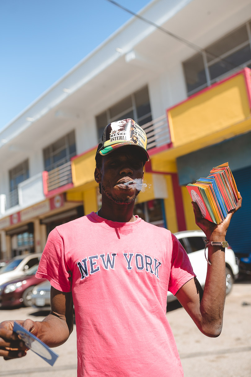 Jamaican man with CDs