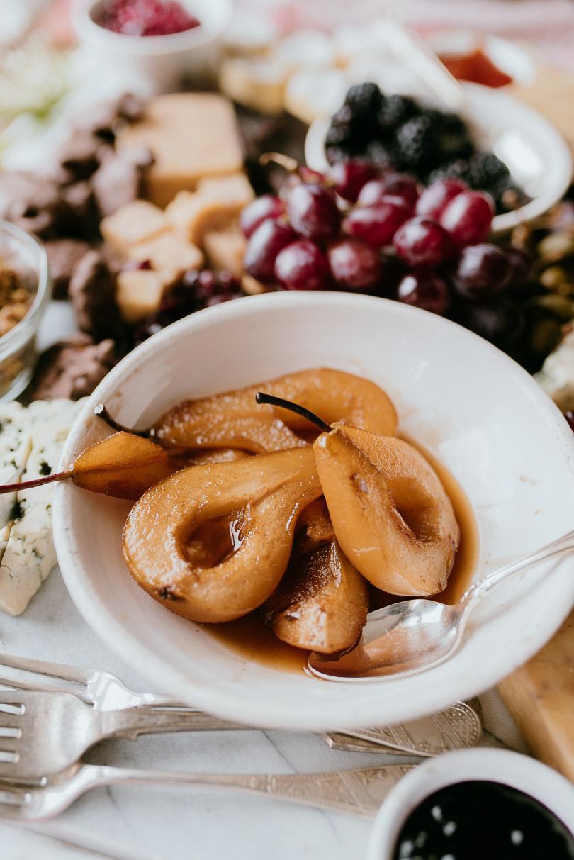 Poached pears on charcuterie board
