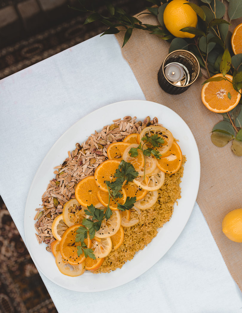Jeweled rice with lemon and orange