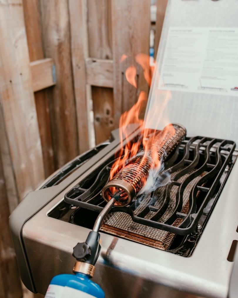 lighting smoke tub on barbecue