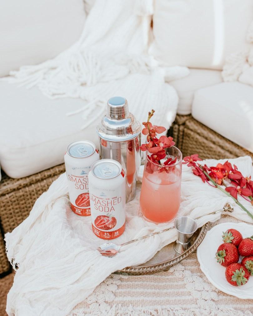 Georgian Bay Strawberry Smashed Soda in a Strawberry Floradora